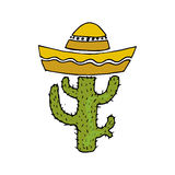 Illustration of Mexico. Cactus in sombrero. I love Mexican. Royalty Free Stock Photo