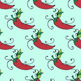 Illustration of Mexico chili pepper. Seamless pattern. Royalty Free Stock Photo
