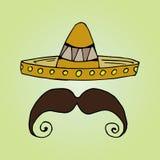 Illustration of Mexico. Hat sombrero. Mens mustache. Royalty Free Stock Photos