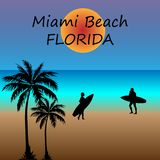 Illustration Miami Beach With Palms royalty free illustration
