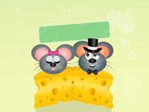 Mice couple in love on cheese Stock Image