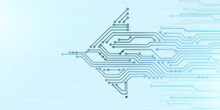 Illustration of microchip board in arrow shape. Abstract digital illustration of microchip board in arrow shape movingfrom right to left on blue background Royalty Free Stock Photography