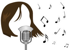 Illustration of a microphone and a girl singing Stock Photos