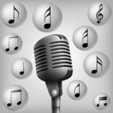 Microphone with music note . vector illustration