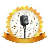 Microphone with music note . royalty free illustration