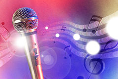 Illustration microphone with red and blue lights horizontal Stock Photo