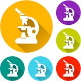 Microscope circle icons set. Illustration of microscope circle icons set vector illustration