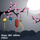 Illustration of mid autumn festival background. Illustration moon happy mid autumn festival, good for logo, banner or postcard design, with vector file Stock Image