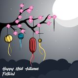 Illustration of mid autumn festival background night. Illustration moon happy mid autumn festival, good for logo, banner or postcard design, with vector file Stock Photography