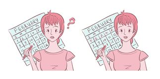 Illustration of young woman confused and happy with her periods. Illustration of middle aged woman shown confused about her irregular periods and happy with her royalty free illustration