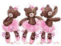 Illustration mignonne d'aquarelle d'ours de nounours illustration libre de droits