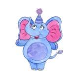 Illustration mignonne d'aquarelle de bande dessinée d'éléphant Illustration tirée par la main Image stock