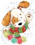 Illustration mignonne d'aquarelle de chiot de bande dessinée Carte de voeux d'année de chien Photographie stock libre de droits