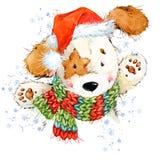 Illustration mignonne d'aquarelle de chiot de bande dessinée Carte de voeux d'année de chien Images libres de droits