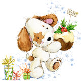 Illustration mignonne d'aquarelle de chiot de bande dessinée Carte de voeux d'année de chien Photographie stock