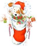 Illustration mignonne d'aquarelle de chiot de bande dessinée Carte de voeux d'année de chien Photo libre de droits