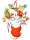 Illustration mignonne d'aquarelle de chiot de bande dessinée Carte de voeux d'année de chien Photos stock