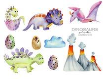 Illustration mignonne d'aquarelle de collection de dinosaures illustration de vecteur