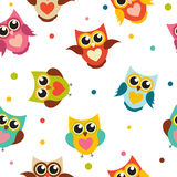 Illustration mignonne d'Owl Seamless Pattern Background Vector Photos stock
