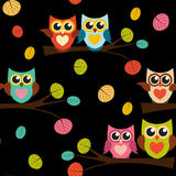Illustration mignonne d'Owl Seamless Pattern Background Vector Photographie stock