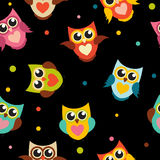 Illustration mignonne d'Owl Seamless Pattern Background Vector Images libres de droits