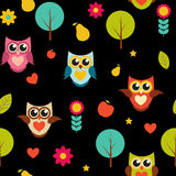 Illustration mignonne d'Owl Seamless Pattern Background Vector Image libre de droits