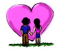 Illustration mignonne de bande dessinée de couples Photographie stock