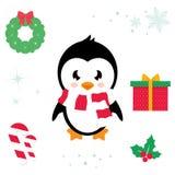 Illustration mignonne de bande dessinée d'ector de pingouin de bande dessinée Image libre de droits