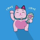 Illustration mignonne de bande dessinée de chat chanceux rose Photos libres de droits