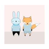 Illustration mignonne de bande dessinée de lapin et de renard Image stock