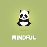 Illustration mignonne de bande dessinée de panda méditant et faisant de la lévitation Images libres de droits