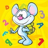 Illustration mignonne de bande dessinée de souris avec le sac d'école Images libres de droits