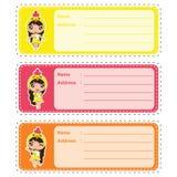 Illustration mignonne de bande dessinée de vecteur d'étiquette -adresse avec les filles colorées mignonnes de poussin appropriées illustration libre de droits