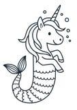 Illustration mignonne de bande dessinée de page de coloration de sirène de licorne Image libre de droits