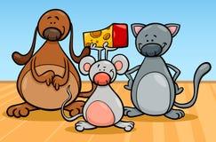 Illustration mignonne de bande dessinée de caractères d'animaux familiers Photo libre de droits