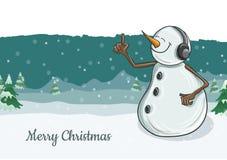 Illustration mignonne de caractère de bonhomme de neige avec des écouteurs pour Noël Images stock