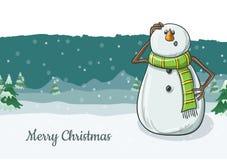 Illustration mignonne de caractère de bonhomme de neige dans l'écharpe verte, avec le fond d'hiver Photo stock