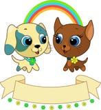 Illustration mignonne de chiot et de chaton Images libres de droits
