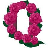 Illustration mignonne de fleur de la lettre Q Image stock