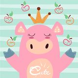 Illustration mignonne de porc de princesse Symbole 2019 ans Idée pour le T-shirt d'impression illustration stock