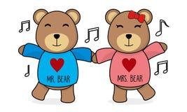 Illustration mignonne de Teddy Bear Couple Dancing Vector illustration stock