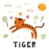 Illustration mignonne de tigre illustration stock