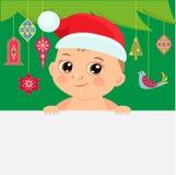 Illustration mignonne de vecteur de bébé de Noël Fond de bébé de bande dessinée de Noël avec l'arbre de Noël de décoration illustration de vecteur
