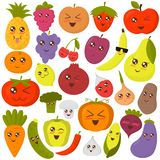 Illustration mignonne de vecteur de légumes et de fruits Autocollants plats colorés de style illustration libre de droits