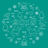 Illustration mignonne de vecteur de nouvelle année et de sym différents de Noël illustration de vecteur