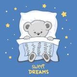 Illustration mignonne de vecteur de sommeil Teddy Bear de bande dessinée Illustration de Vecteur