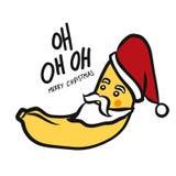 Illustration mignonne de vecteur de style de griffonnage de bande dessinée de banane de Noël oh oh oh photo stock