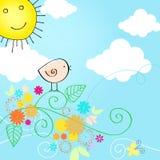 Illustration mignonne des textes d'été avec l'oiseau Photo stock