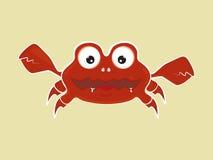 Illustration mignonne drôle de vecteur de crabe de bande dessinée Images libres de droits