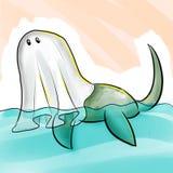 Illustration mignonne et drôle de bande dessinée de Halloween Le monstre de Loch Ness de créature d'imagination utilise le costum illustration de vecteur